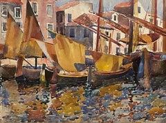 """Gondolas at the Dock, Venice, Italy"" Louis Wolchonok, Boats in the Harbor Scene"
