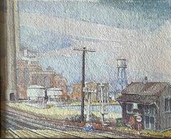 """Train Station,"" Max Kuehne, Industrial City Scene, American Impressionism"