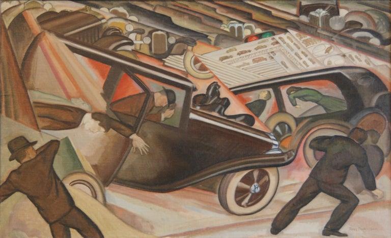 "Ross Dickinson Landscape Painting - ""Crash"" Modern Oil Painting WPA American Los Angeles Scene Cubist Art Deco Cars"