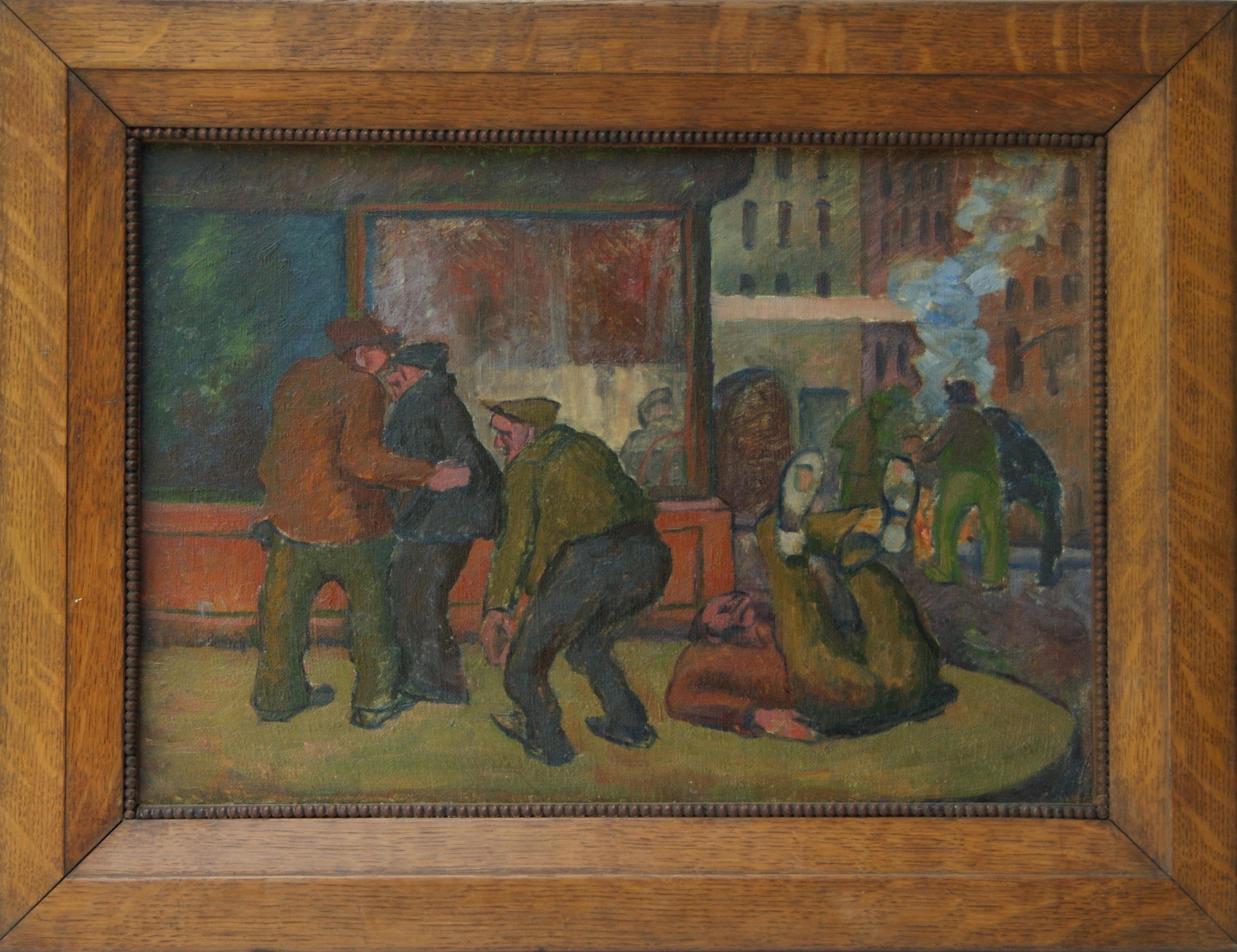 BOWERY Oil Painting WPA American Scene Modernist Historical Art Provincetown NYC