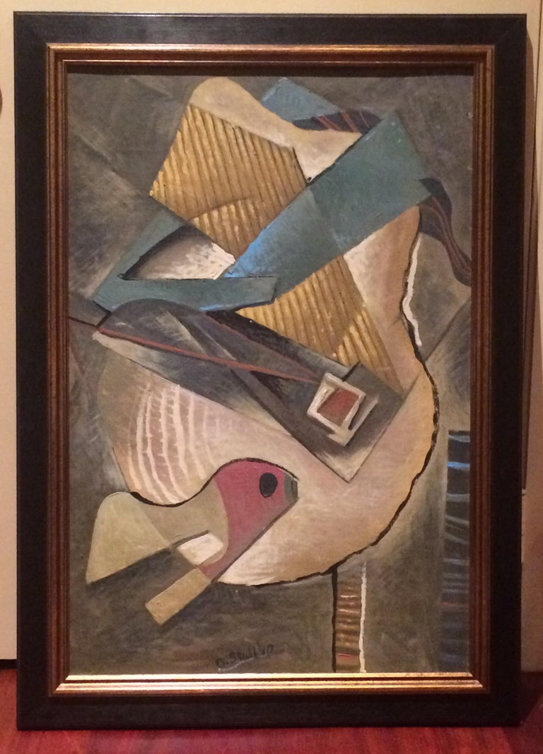 PINK FISH, WPA Abstract Muralist 1940s modernist American Scene mid-century  - Painting by John Deforest Stull