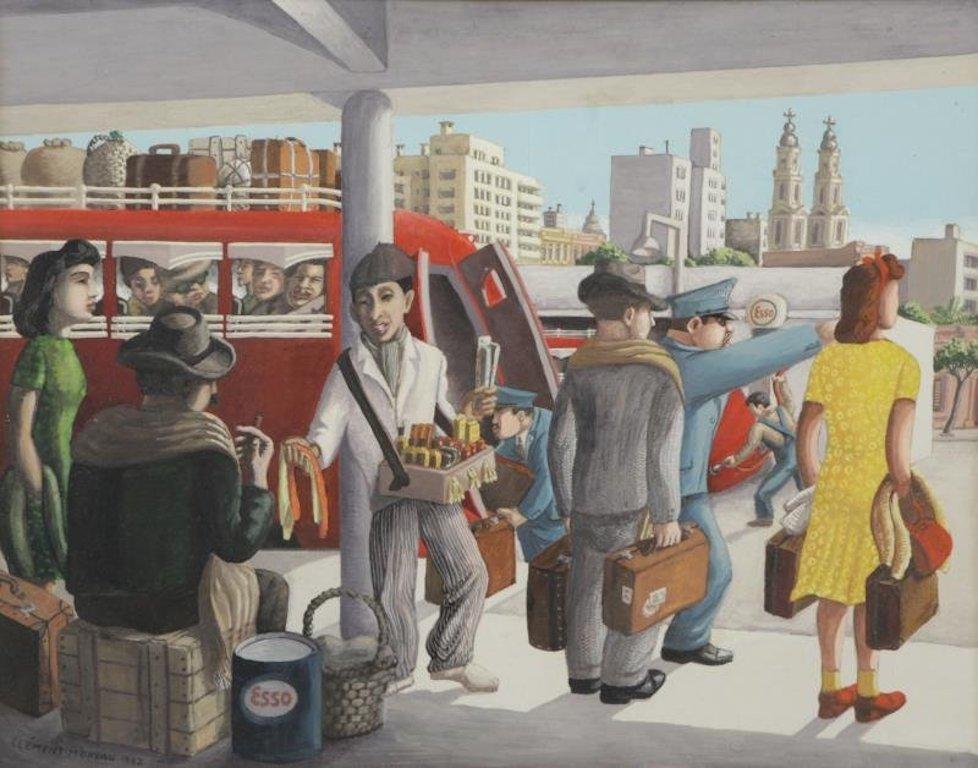 """Bus Stop"" Latin Art Social Realism Europe WPA Figurative Transportation Modern"