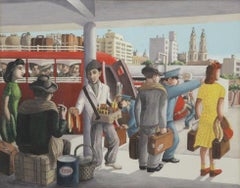 """Bus Stop"" Latin Art Social Realism Europe WPA Figurative Transportation Modern"