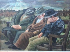 THREE MEN ON A BENCH Chicago WPA Figurative Urban Depression Era American Scene
