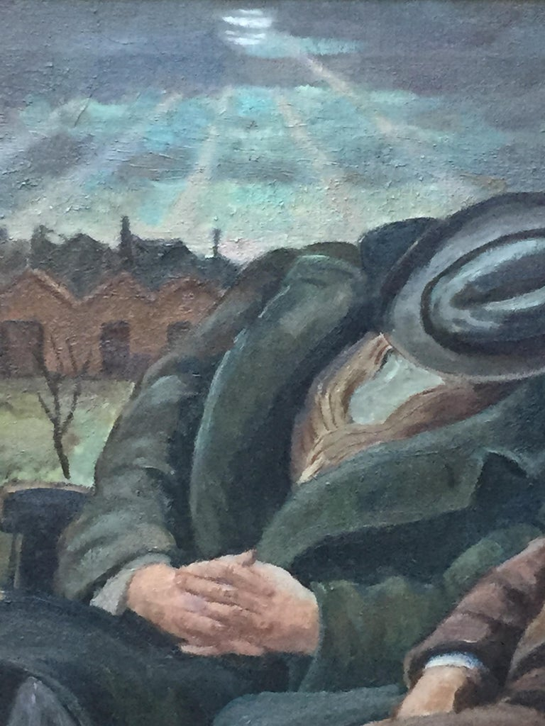 THREE MEN ON A BENCH Chicago WPA Figurative Urban Depression Era American Scene - American Realist Painting by Carl Nyquist