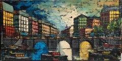Parisian Seine River, Paris, French City, Street, Bridge, Decorative Oil Canvas