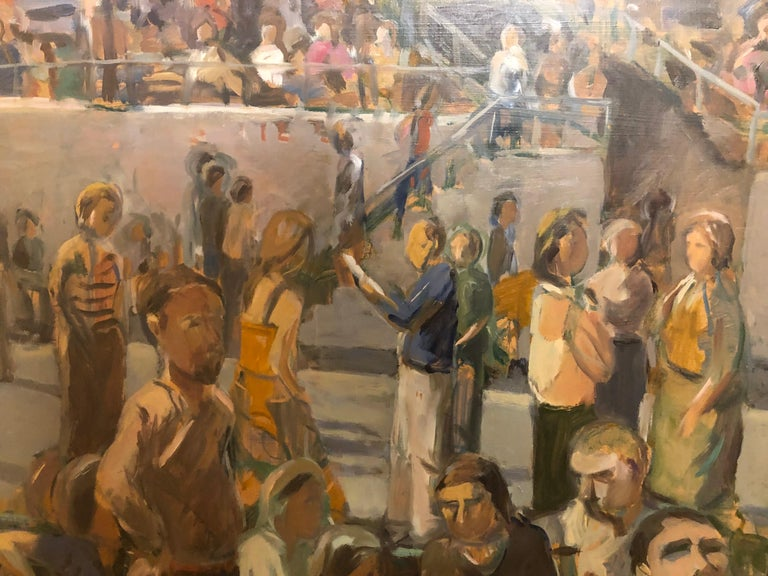 Saratoga Springs Racetrack, Summer Grandstand Crowd, Horse Bettors - Contemporary Painting by Anne Diggory