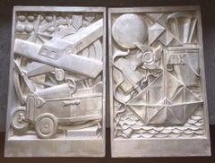 Albert Binquet - Silvered French Art Deco Plaster Plaques Sculpture Cubist, pair
