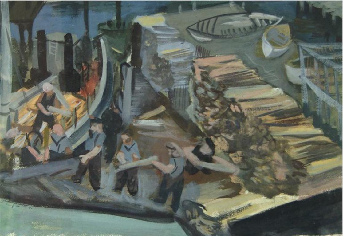 """Loading Logs"" WPA American Scene Men Working Social Realism Mid-Century 1930s"