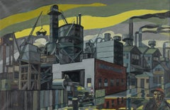 """""""Colonial Sand and Stone Company, New York,"""" Industrial WPA Scene, Precisionist"""