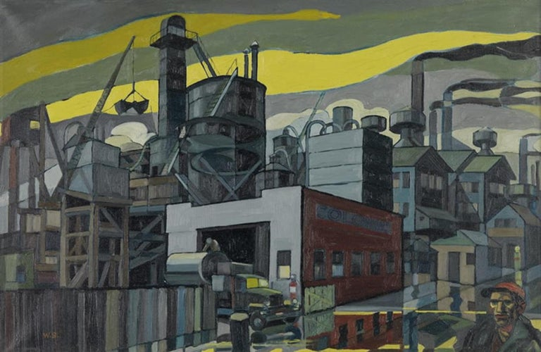 "William Sharp Abstract Painting - ""Colonial Sand and Stone Company, New York,"" Industrial WPA Scene, Precisionist"