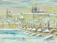 """Charles Bridge, Prague,"" Vlatava River and Prague Castle in Winter, Skaters"