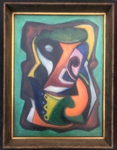 MODERNIST ABSTRACT Mid-Century New Hope Non-Objective oil American Modern WPA