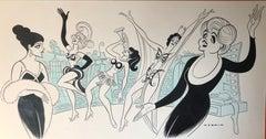 Angela Lansbury GYPSY original 1974 Broadway musical drawing Mid-Century Modern