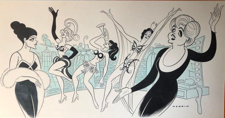 Angela Lansbury GYPSY original 1974 Broadway musical drawing Mid-Century Modern - Mixed Media Art by Sam Norkin