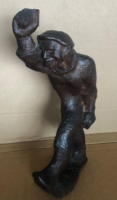 STRIDENT MAN Carved Wood Sculpture Hollywood WPA Modernist Puppet Mid-Century