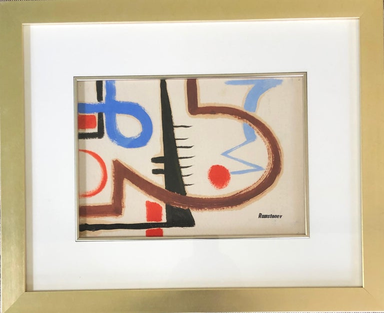MODERNIST DRAWING New Hope Mid-Century WPA Abstract Non-Objective Jazz Modern - American Modern Mixed Media Art by Ramstonev (Ramsey/Stone/Evans co-operative)