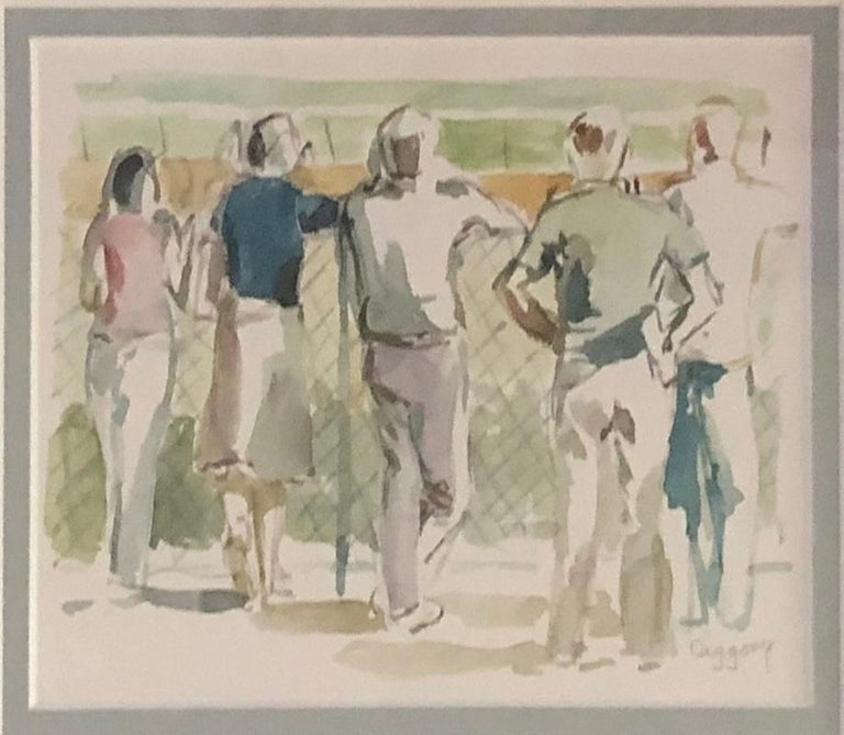 Anne Diggory Landscape Art - Five at the Rail, View of Racetrack and Crowd, Saratoga Springs, New York