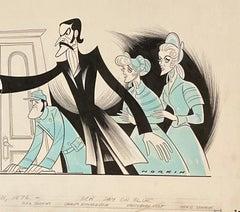 "Meryl Streep John Lithgow ""Secret Service"" 1976 Off Broadway Theatre Caricature"