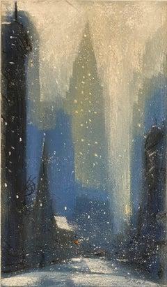 """Chrysler Building"" New York City Winter Snowstorm, Mid-Century Modern View"