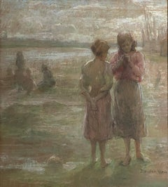 """Two Girls at the Beach,"" J. Alden Weir, American Impressionist Landscape"