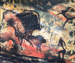 """Lascaux Cave Painting, France"" Ice Age Animals, Mid-Century Modern New York"