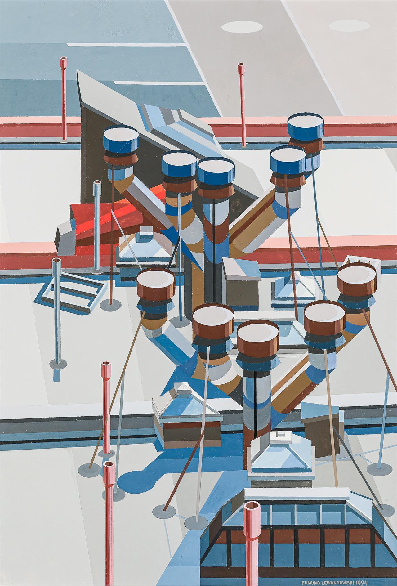 """Rooftops,"" Edmund Lewandowski, Precisionism Modernist Industrial Factory Scene"