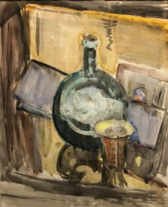 """Still Life of a Bottle and a Cup,"" Max Weber, American Cubist Modernist"
