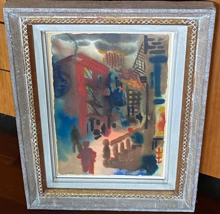 George Grosz NYC City Scene Modernism Watercolor  German Expressionism Weimar - Black Figurative Art by George Grosz