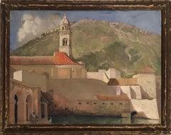 """""""Dubrovnik (Ragusa) Harbor Scene, Croatia,"""" May Mott Smith, Female Artist Travel"""