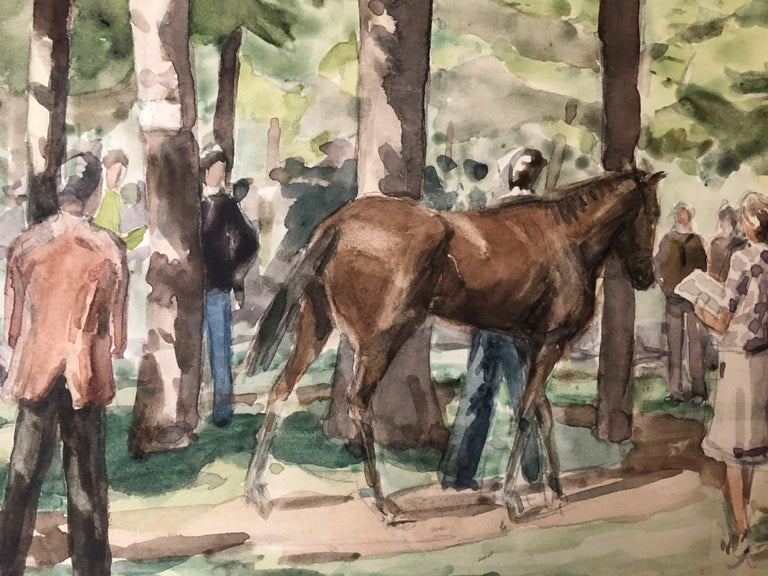 Anne Diggory (b. 1951) The Racetrack Paddock and Thoroughbred Owners, Saratoga Springs New York, circa 1978 Watercolor on paper 9 x 12 inches Signed and dated lower left  Provenance: The artist Private Collection, California  Anne Diggory lives in