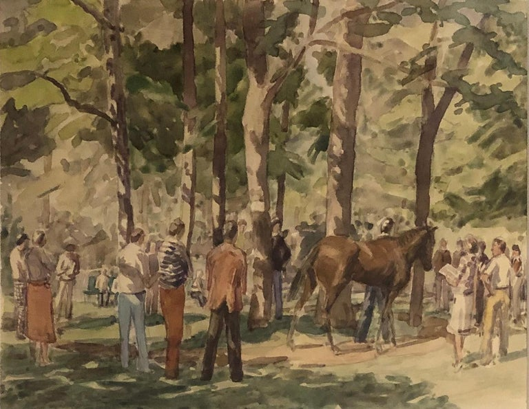 """""""The Racetrack Paddock and Thoroughbred Owners,"""" Saratoga Springs, Anne Diggory - Art by Anne Diggory"""