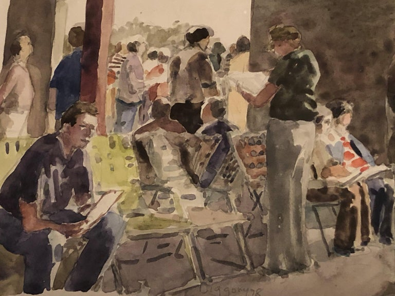 Anne Diggory (b. 1951) Out of the Sun (Under the Racetrack Grandstand), 1978 Watercolor on paper 7 x 10 inches Signed and dated lower left  Provenance: Acquired directly from the artist  Anne Diggory lives in Saratoga Springs, NY, and frequently