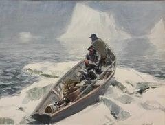 """""""Frozen In,"""" John Whorf, Impressionist Winter Marine Scene, Fishermen in Boat"""