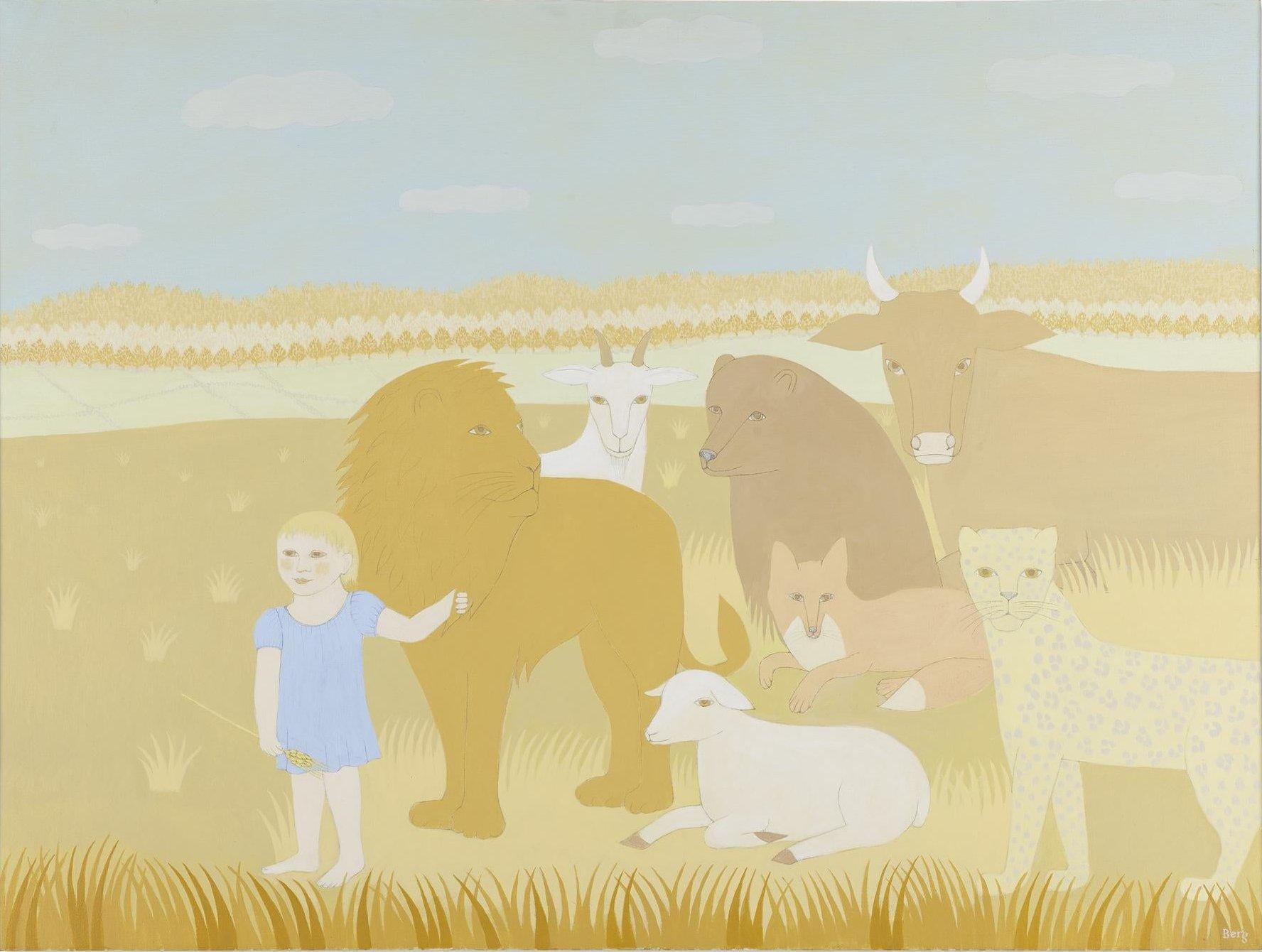 """Peaceable Kingdom IV,"" Rosamond Berg, Animals with Little Girl, Edward Hicks"