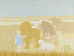 """Peaceable Kingdom IV,"" Rosamond Berg, Animals with Little Girl, Edward Hicks"