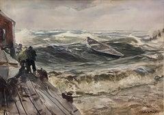 """Dory Adrift,"" John Whorf, Impressionist Marine Coast Scene, Fishermen with Boat"