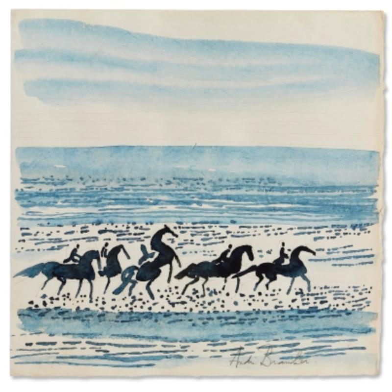 """""""Horses on the Beach,"""" Andre Brasilier, French Equine Watercolor"""