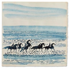 """Horses on the Beach,"" Andre Brasilier, French Equine Watercolor"
