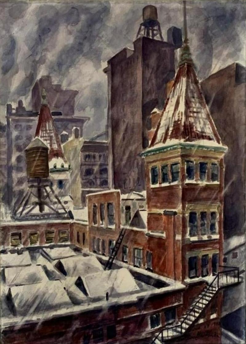 """""""Snow Storm in New York City,"""" Bertram Hartman, WPA Rooftops Winter Cityscape"""