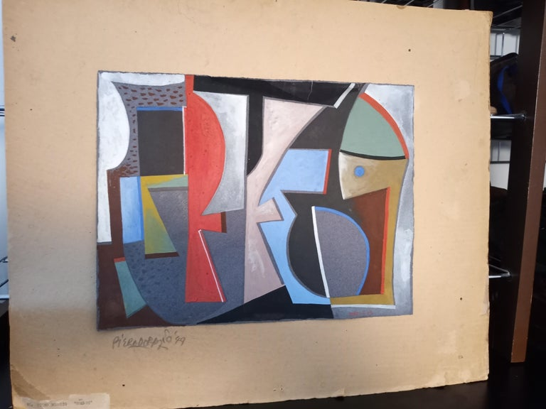Italian Abstract Work on Paper Color Field Non-Objective European Mid-Century For Sale 1