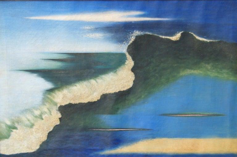 "Edward Biberman Landscape Painting - ""Wave"" Abstract Seascape American Modern Modernism 20th Century Social Realism"