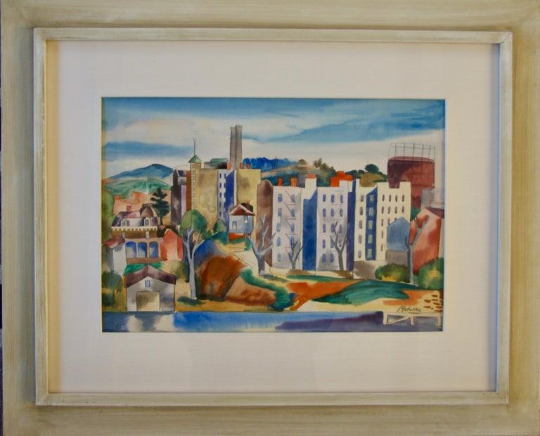 VIEW OF THE BRONX Watercolor American Modern Modernism NYC 20th Century Drawing.  Jan Matulka (1890 – 1972)