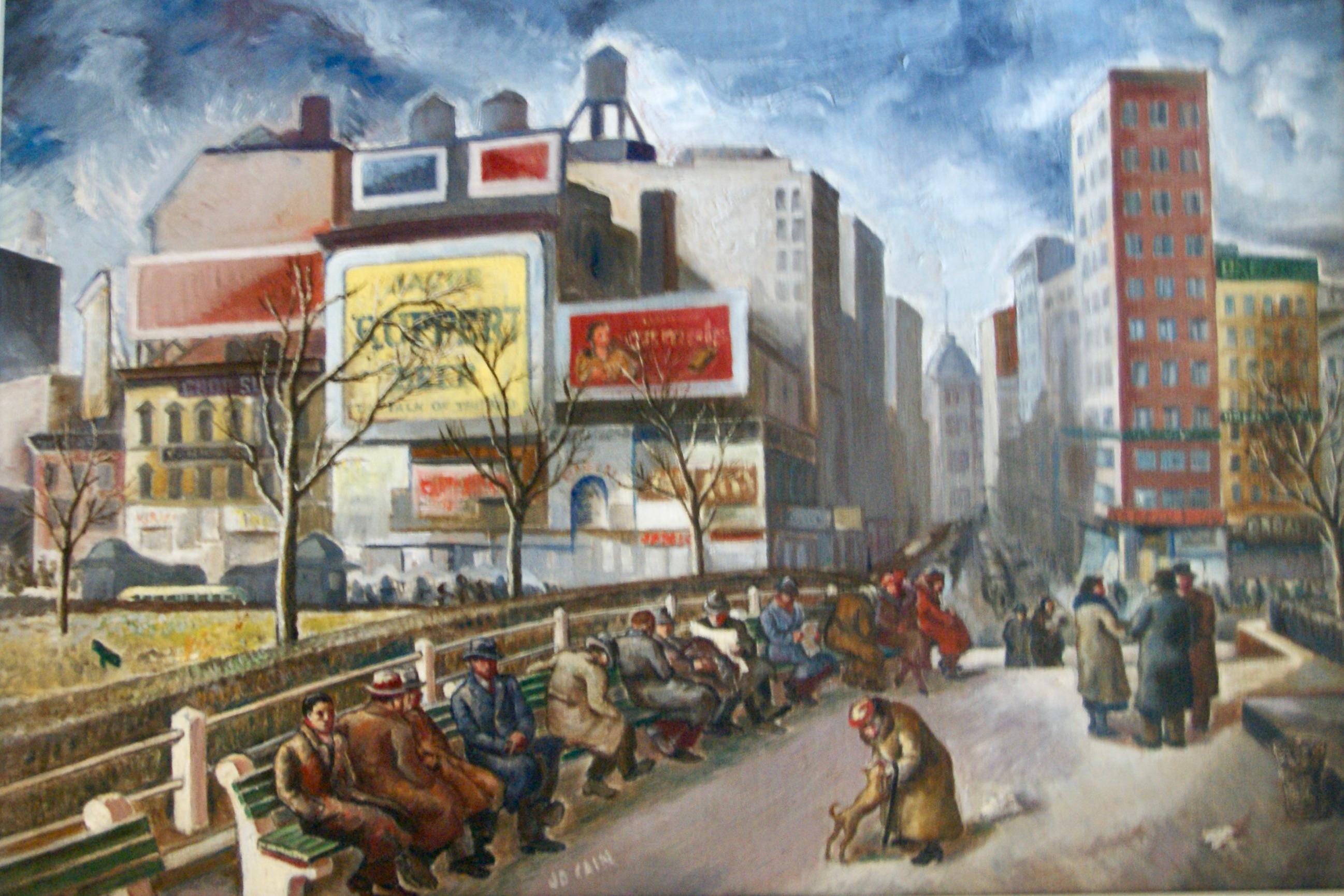 UNION SQUARE Depression Era Oil Painting WPA Realism American Scene Realism NYC