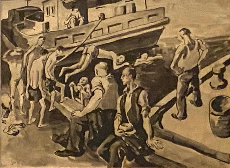 "Daniel Ralph Celentano Landscape Art - ""Houseboat"" WPA Depression Era American Scene Modernism Realism Work on Paper"