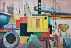 Industrial WPA Mid-Century American Scene Modernism Industrial Mural Study