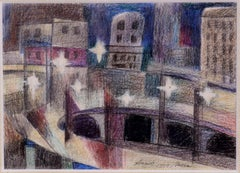 """""""Approach Lincoln Tunnel"""" WPA Mid-Century Modernism American Scene NYC Cityscape"""