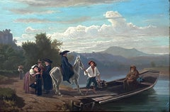 """The Ferry Crossing,"" Abraham Zwahlen, Swiss Alpine Landscape, European River"