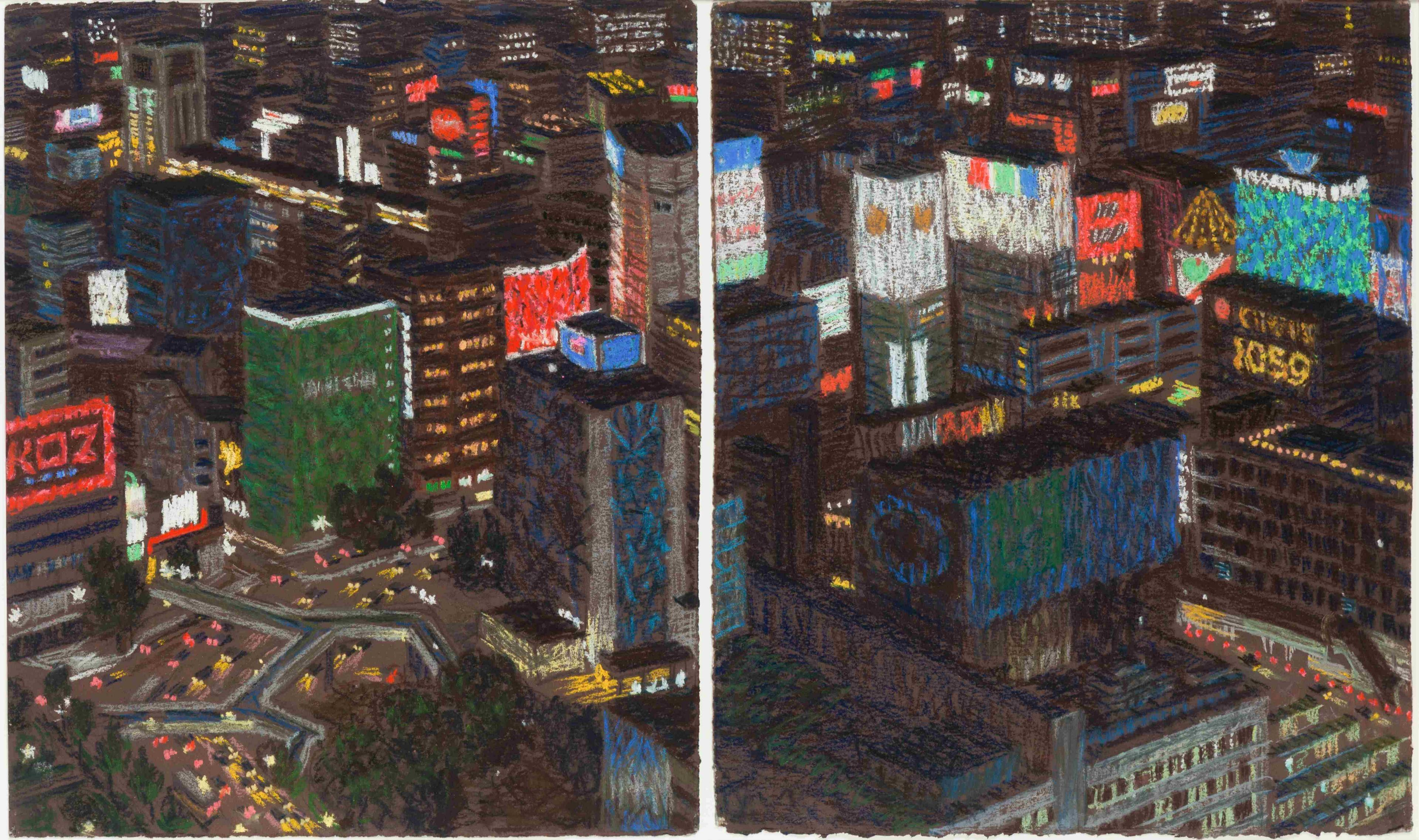 """""""Tokyo Diptych,"""" Yvonne Jacquette, Japanese Urban Cityscape Nocturnal Aerial"""