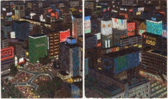 """Tokyo Diptych,"" Yvonne Jacquette, Japanese Urban Cityscape Nocturnal Aerial"